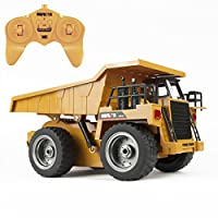 TekBox 6 Channel RC Remote Control Dump Truck 2.4Ghz Full Functional Battery Powered Construction Toy