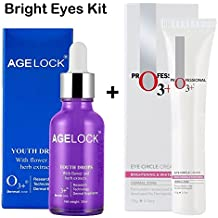 O3+ Bright Eyes Kit- Eye Circle Cream and Agelock Youth Drops with flower and Herbs Extracts to Remove Fine-lines, Dark Circles, Puffiness and Complete Eye Treatment