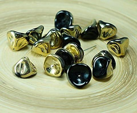 Schwarz Gold die Hälfte der Tschechischen Glas Große Glocke Blume Perlen Lilie Des Tal-Blume-Caps Halloween 8mm x 10mm 12 Stück