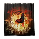 CPYang Duschvorhang Vollmond Fire Wolf Wasserdicht Schimmelresistent Badvorhang Badezimmer Home Decor 168 x 182 cm mit 12 Haken
