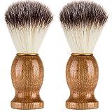 Fhuuly Hommes Rasage Ours Brosse Meilleur Cheveux Blaireau Rasage Manche en Bois Outil de Barbier Rasoir (Kaki)