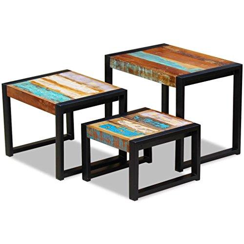 vidaXL Tables de Nidification Bois de récupération Massif 3 pcs Tables gigognes