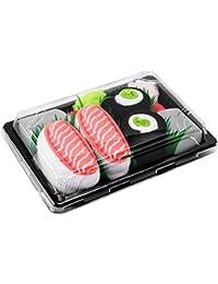 Sushi Socks Box - 2 pares de CALCETINES: Nigiri Salmón Maki de Pepino - REGALO DIVERTIDO, Algodón de alta Calidad|para Mujer y Hombre: Tamaños 36-40 y 41-46, Certificado de OEKO-TEX, Fabricado en EU
