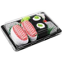 Sushi Socks Box 2 paia di CALZINI SUSHI: Nigiri Salmone Centrolo Maki, Idea REGALO Divertente, Calze fantasia di COTONE|per Donna e Uomo:EU 36-40, 41-46 Certificato OEKO-TEX, Prodotto in Europa