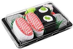 Idea Regalo - Sushi Socks Box - 2 paia di CALZINI SUSHI: Nigiri Salmone Centrolo Maki, Idea REGALO Divertente, Calze fantasia di COTONE|Dimensioni: EU 36-40, Certificato OEKO-TEX, Prodotto in Europa