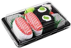 Rainbow Socks - Damen Herren - Sushi Socken Lachs Nigiri Gurken Maki - Lustige Geschenk - 2 Paar - Größen EU 36-40