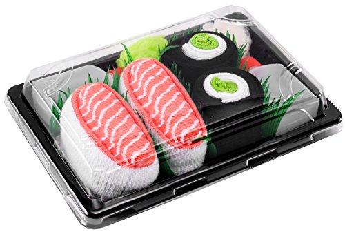 Sushi Socks Box - 2 paia di CALZINI SUSHI: Nigiri Salmone Centrolo Maki, Idea REGALO Divertente, Calze fantasia di COTONE|Dimensioni: EU 41-46, Certificato OEKO-TEX, Prodotto in Europa