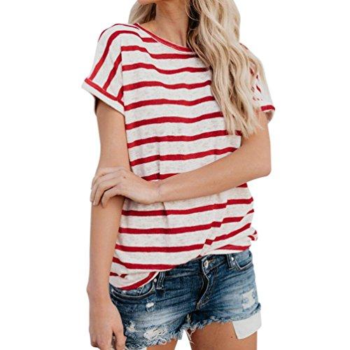 Damen Bluse Yesmile Frauen Kurzarm Streifen T-Shirt Casual Sommer Tunika Bluse T Shirt Frühling Gestreift Neu Herbst Oberteil Tops (M, Rot-A)