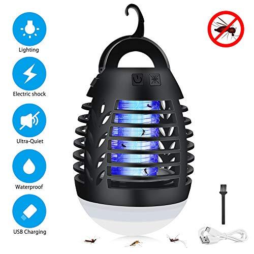 Sunvook Elektrischer UV Insektenvernichter 2-in-1 Mückenfalle Elektrisch IPX6 Wasserdicht Mückenlampe LED mit 2200mAh Silica Gel Anti-Fall USB Wiederaufladbarer Indoor Outdoor mit Einziehbarem Haken ...