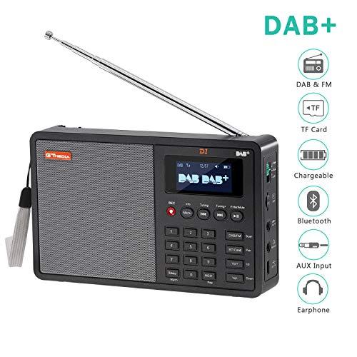 Soleebee tragbares digitales DAB/DAB+ Radio 1,8 '' LCD-Anzeige mit FM-Transmitter, Bluetooth, TF-Karte Digital Player, Senderspeicher, RDS-Funktion, Aufnahme, Wecker, mit kostenlose Akku