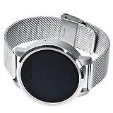Smartwatch Armbanduhr, Aktivitätstracker, Heart Rate Monitor, Für iOS und Android, 1.22 Zoll runder Touchscreen, Schlaftracker, Armbanduhr Telefon, Silber