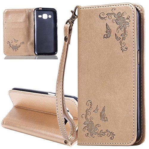 ISAKEN Compatibile con Samsung Galaxy Grand Prime G530 Custodia - Libro Flip Case Portafoglio Wallet Cover in PU Pelle Tinta Unita Custodia Embossed Rose Caso con Supporto di Stand/Carte Slot, Oro