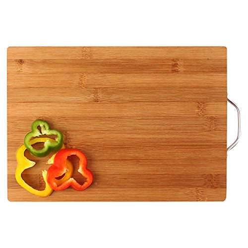 HOKIPO® Bamboo Wooden Chopping Board with Handle - MEDIUM - 34 x 24 x 1.8 cm