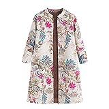 Vintage Oversize Mäntel Jacke Damen Winter warme Knopf Blumendruck Taschen Outwear
