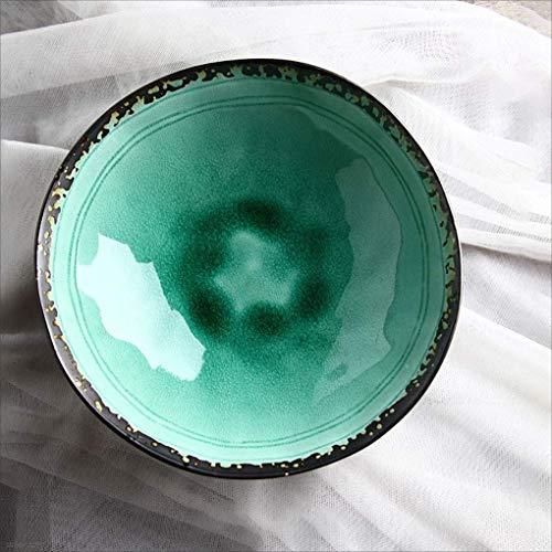 HKDW Kreative Farbverlauf grüne Farbe Keramik Geschirr Ramen Suppe Schüssel Obstsalat Platte