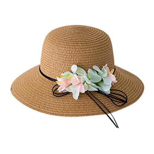 Louyihon-Kleidung Kinderhat Sommer Baby Kinder Blume Atmungsaktiv Hut Stroh Sonnenhut Kinder Hut Junge Mädchen Hüte für Schule, Reisen, Klettern, Reiten, Tägliches Tragen (Khaki)
