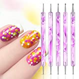 5 Pcs Nail Dotting Pen Marbleizing Tool Set Nail Polish Paint Manicure Dot Nail Art Tool Set (Purple)