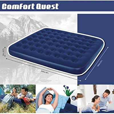 Comfort Quest Flocked Airbed - King Size, Blue