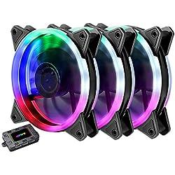 upHere RGB Ventole Ultra silenziose per Case 120 mm, con LED Rosso, dissipatori di Calore e radiatori per CPU 3 Set(RGB123-3)