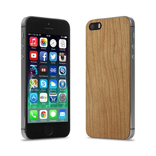 Cover-Up #WoodBack Peau de Bois Naturel pour iPhone 5 / 5s - Loupe d'orme des Carpates Cerisier