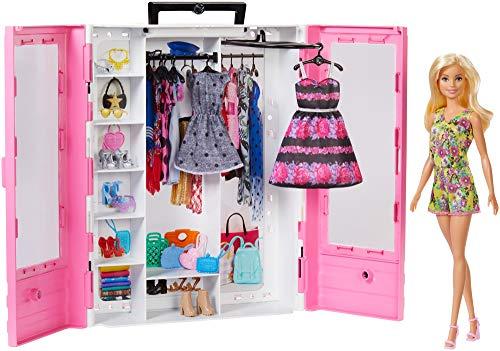 Barbie- armadio fashionistas rosa con accessori, bambola inclusa, giocattolo per bambini 3+ anni, gbk12