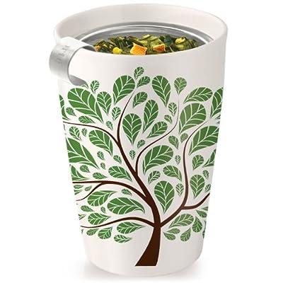 Tea forte Kati 3910239 - Tazza in ceramica, motivo: foglie verdi by Tea forté