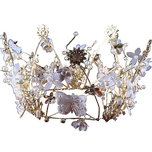 roroz Braut Haarschmuck, Braut Krone,Crystal Strass Schmetterling Crystal Stirnband Crown Pearl Inlay Set mit Ohrringe Hochzeitsfotografie,OneColor