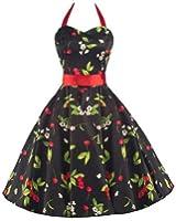 Pretty Kitty Fashion 50s Kirsche Schwarz Rot Neckholder Kleid