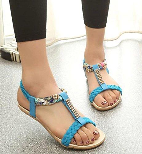 Sommer offene Sandalen weiche Oberfläche mit flachen Sandalen niedrige Weisefrauensandelholze College zu helfen Blue