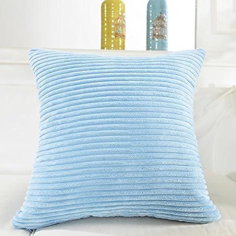 Home brillant solide décoratif Toss Taie d'oreiller rayé en velours côtelé Housse de coussin, Tissu, Baby Boy Blue, 45,7 x 45,7cm
