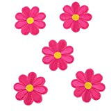 HENGSONG 5 Stück Blumen Aufnäher Stickerei Applikationen Set Patches Zum Aufbügeln für T-Shirt Jeans Kleidung Taschen Hut Dekor (Dunkelrosa)
