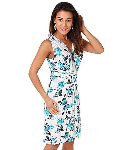 6252-TUR-10: Floral V Neck Knot Front Pleated Shift Sleeveless Mini Dress Summer Beach