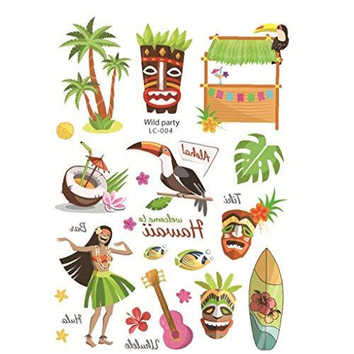 Sommer-Party-Dekor Supplies Tropische Hawaiische Partei-Tätowierung-Aufkleber-Temporäre Tätowierungen Hawaii Luau