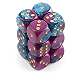 Chessex Dice d6 Sets: Gemini Purple & Teal with Gold - 16mm Six Sided Die (12) Block of Dice by Chessex