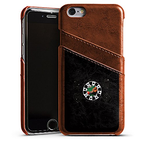 DeinDesign Apple iPhone 6s Lederhülle Maroon Leder Case Leder Handyhülle Poker Chip Heart -