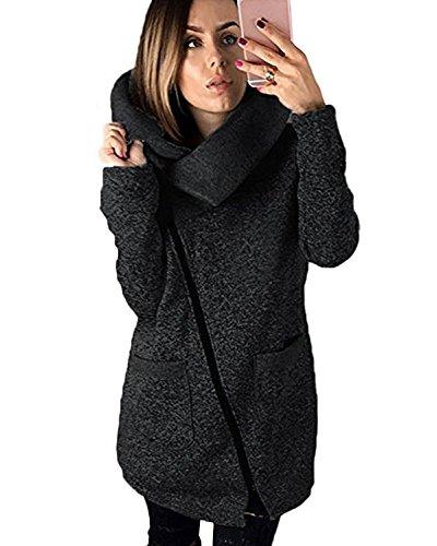 Minetom Damen Herbst Sweaters Hoodie Longshirt Langarm Sweatshirt Schraeg Zipper Lange Pullover Sweatjacke Schwarz DE 54