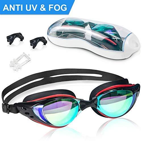Arteesol Schwimmbrille, Anti Fog Schwimmbrille Kristallklare 180 ° Panoramasicht Verspiegelt mit 100% UV-Schutzbeschichtung mit Schutzhülle und Ohrstöpsel für Erwachsene und Kinder (Schwarzes Upgrade)