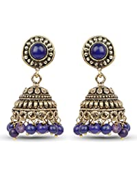 Johareez Brass Jhumki Earrings With Blue Colored Beads