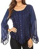 Sakkas 1666 - Aura Womens Casual Rüschen Flare Crop Top Bluse mit Langen Ärmeln w/Stickerei - Blau - XL
