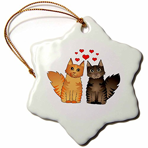 3drose Orn _ 35515_ 1Cute Maine Coon Katzen in Love rot und braun gestromt Schneeflocke Porzellan Ornament, 3Zoll