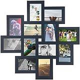 Bilderrahmen Holz–Collage Wandtattoo–Farbe grau anthrazit–Kapazität 12Fotos 10x 15cm–Multi Blick 64x 64cm Anthrazitgrau