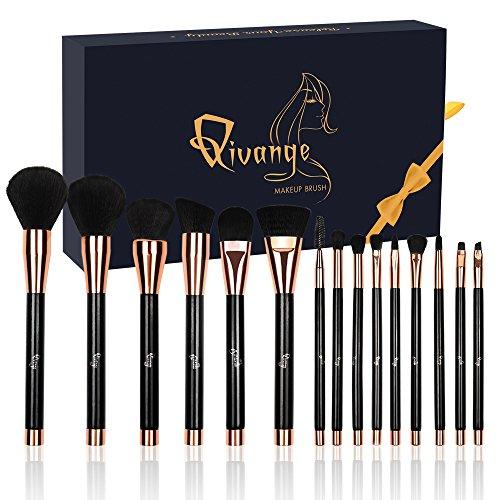 pinceaux maquillage, 15 Pcs Premium brosses cosmétiques avec soies synthétiques en bois poignée Foundation Eye Shadow Blush brosse à lèvres avec boîte-cadeau Qivange