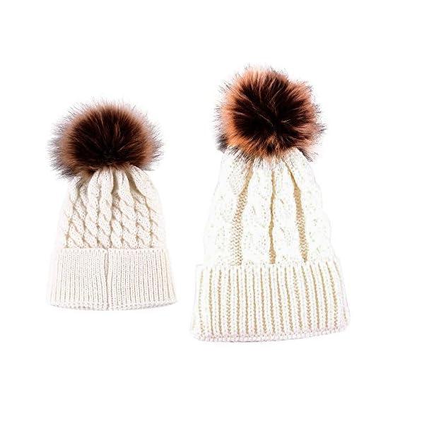 niceEshop(TM) Mom and Baby Winter Knitting Beanie Pom Pom Bobble Hats