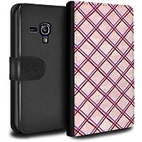 STUFF4 PU Pelle Custodia/Cover/Caso/Portafoglio per Samsung Galaxy S3 Mini / Rosa/rosso / Criss cross pattern disegno