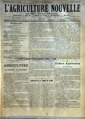 AGRICULTURE NOUVELLE (L') [No 159] du 05/05/1894 - AGRICULTURE PAR DELACROIX - CAZAUX - SCHRIBAUX - TROUDE - ADRIEN-BOITEL - VITICULTURE PAR SOULIERE - HORTICULTURE PAR COUTURIER - NANOT - ELEVAGE PAR HECTOR GEORGE par Collectif