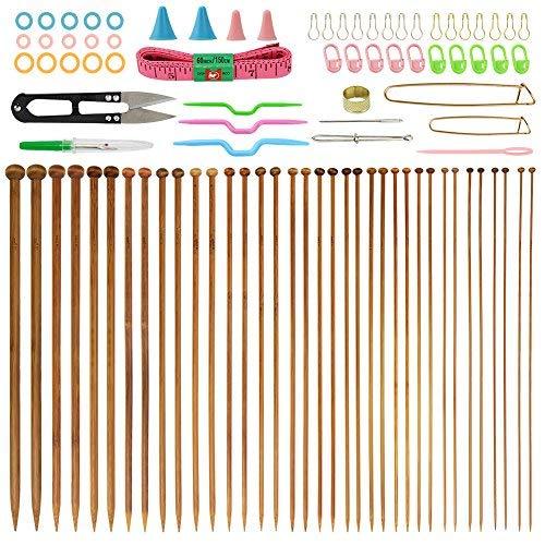 Bambus Stricknadeln (35,6cm Länge), Stricknadel verkohlten Stricknadeln 18Größen von 2,0mm bis 10,0mm mit 56PCS Zubehör -