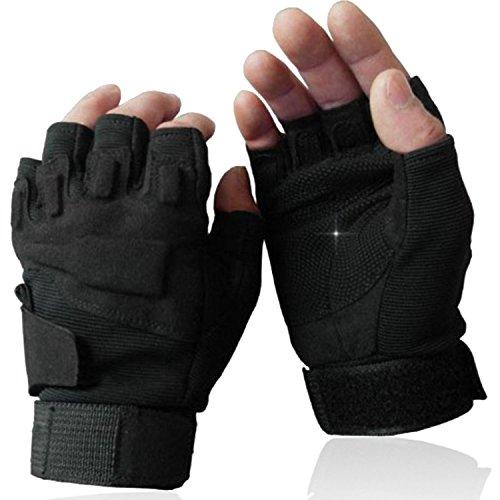 Rüstung Handschuhe (OMGAI Männer Halb Finger Militärische Taktische Handschuhe Von Hard Knuckle für Airsoft Armee Schießsport Paintball Motorrad Outdoor-Sportarten Schwarz L)