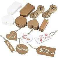 Etiquetas de Kraft, 300 Piezas Etiquetas de Regalo Etiquetas de Precio Equipaje con 40m Cuerda de Yute para Bodas, Cumpleaños y Navidad