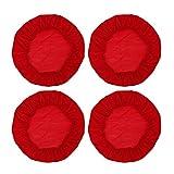 Sharplace 4 Pz Coprisedile Elasticizzato Fodera Cuscino Rotonda per Sedia Arredamento Interno - Rosso