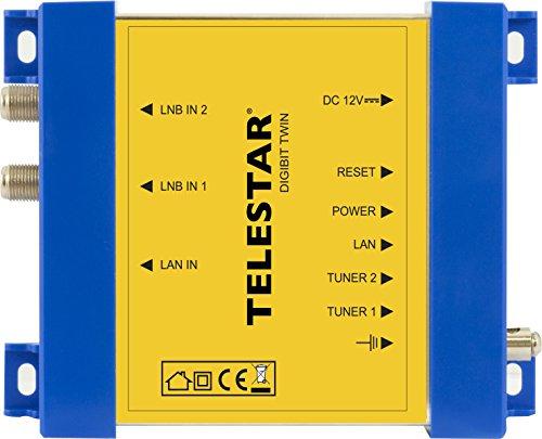 Telestar-Digibit-Twin-Satelliten-IP-Netzwerk-Transmitter-HDTV-2-SAT-Eingnge-1-LAN-Ausgang-gelb